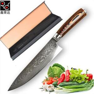 Hot Design Pakka Wood Handle Damascus Knife with Gift Box